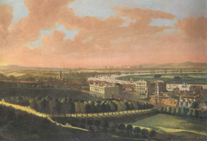 A view from Greenwich before the construction of the Royal Naval Hospital and the windmills which gave rise to the name Mill Wall on the Isle of Dogs