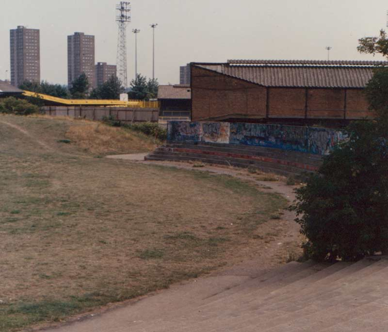 The Den seen from the site of the demoilished New Cross Stadium early 90s