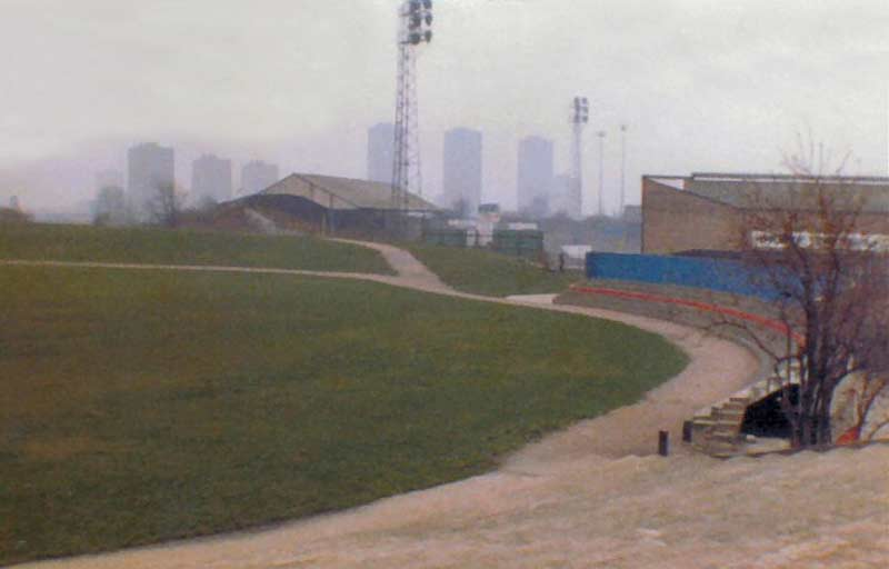 The Den seen from the site of the demoilished New Cross Stadium early 80s