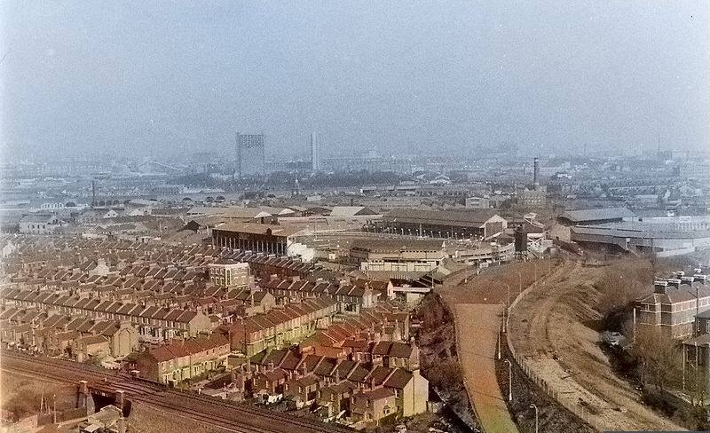 The Den April 1969 from Tunstin Estate Tower Block colourised