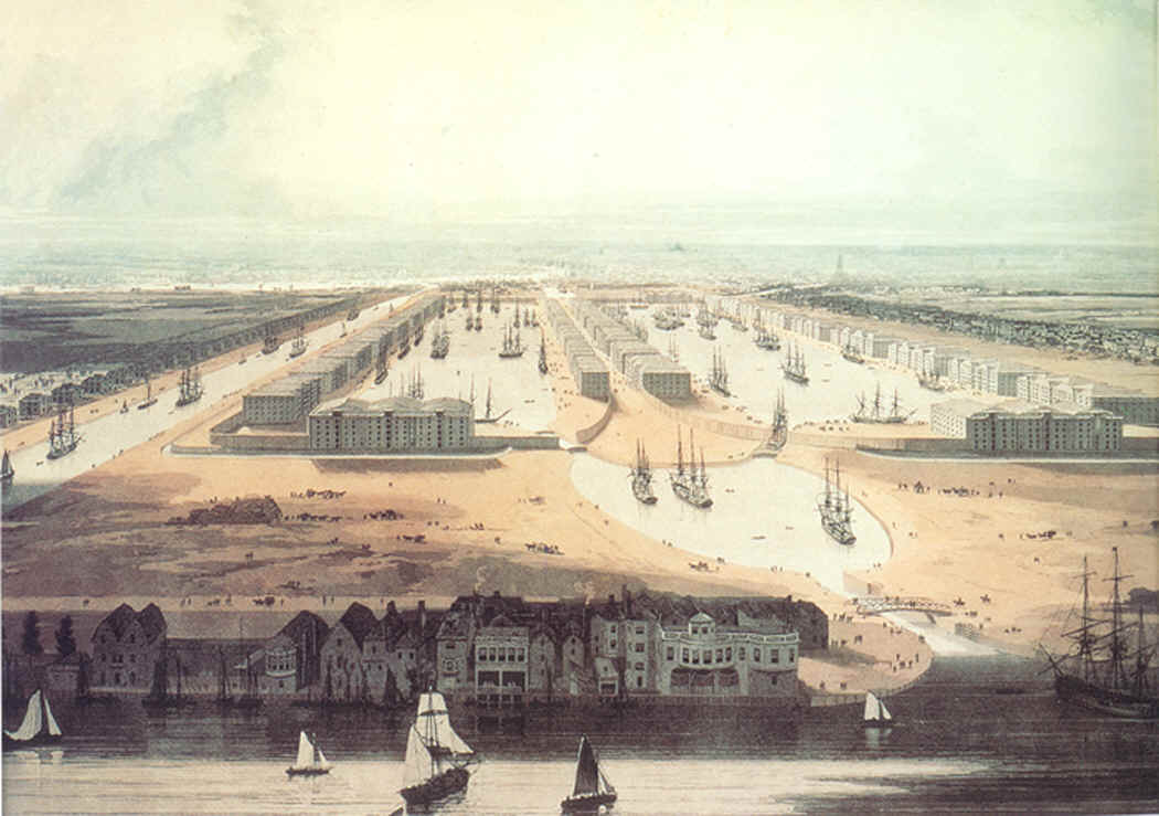 View of the Proposed West India Docks and City Canal by W Daniell (1802)